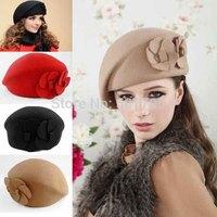 2014 New Fashion Women's Berets Beanie Hats Caps Cute Flower Winter Warm Angora & Wool Soft Stewardess Hats