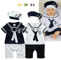 18Set Summer Newborn Navy Style Baby Boy Girl Rompers+Hat 2Pcs Set Kid's Short-Sleeve Sailor Bodysuit Children Jumpsuit Clothing