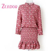 2014 Women Autumn Dress Brand Korean Style Long Sleeve O Neck Trumpet Mermaid Pink Print Casual Dress