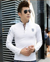 Free shipping 2014 Autumn Winter New Arrival Pure Color Long Sleeve Cotton Slim T-shirt!
