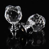 Free Shipping 20pcs/lot 20mm Diameter Glass Crystal Rose Shaped Furniture Hardware Door Handles Cabinet Knobs