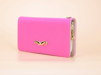 Simple and lovely lady wallet long section of small character mustache metal zipper chain wallet QNN10