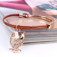 Qinuo new original hand decorated golden hook owl leather bracelet bracelet Yiwu small jewelry wholesale
