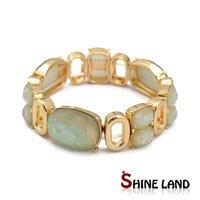 18K Gold Plated Pulseiras Feminias Fashion Women Imitation Gemstone Hollow Out Alloy Statement Bracelet Bangle