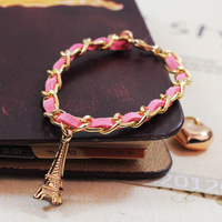 Fashion jewelry classic romantic French Eiffel Tower hand woven leather rope BRACELETS WHOLESALE