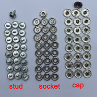 "Stainless Steel Screw-In Boat Cover Canvas 3/8"" Dot Fasteners Snap Set Cap /Socket/ Stud"