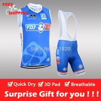 Free shipping/2014 Blue FDJ cycling sleeveless jersey and bib shorts/Ciclismo jersey/cycling vest/cycling gilet/bike clothing