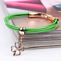 n golden Beaded Bracelet hollow clover a plurality of green leather fashion bracelet hook lucky hand ornaments wholesale