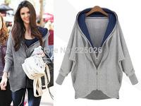 2014 New Printed Women Hoodie Printed Sweatshirt Women Coat Sweatshirt Hooded Outerwear Tops Pullover Very Well Gray, White
