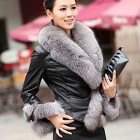 Plus size S-3XL 2014 Winter Warm Coat Women Female Fur Coat Slim Full Sleeve Leather Jacket Blazer Women Faux Fox Fur Outerwear