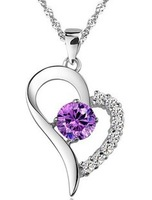 2014 New fashion Heart-plated 925 sterling silver heart-shaped pendant necklace love necklace gift for GF and wife free shipping