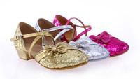 Free Shipping Hot sale Brand New girls Women's Ballroom Latin Tango Dance Shoes heeled Sale Promotion wholesale 203-S