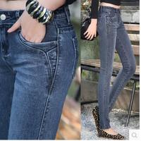 2014 New Fashion Autumn Female Denim Pencil pants Long Trousers Plus size Elastic Women's Jeans