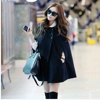 Free Shipping Casual Women Cape Black Batwing Wool Poncho Jacket Lady Winter Warm Cloak Coat LJ020XGJ
