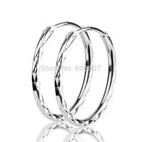 GNE0815 NEW 925 Sterling Silver Earrings Fashion Silver Stylish Jewelry 19.5*1.5mm Silver Hoop Earrings for Women Free Shipping