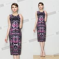 2014 Fashion Sexy Floral Printed women pencil Dress elegant purple slim fit Bodycon Bandage Dress fancy sleeveless Casual Dress