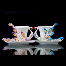 Lifelike Porcelain Purple peacock And blue peacocks Tea Coffee Set 2Cups 2Saucer 2Spoon Christmas Gift