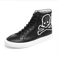 Sanken Male Skull Pattern Sneaker High Top Spring And Autumn Sport Dance Shoes Popular Korean Design Fashion Men Genuine Leather