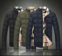 2014 new men's fashion down jacket coat cotton jacket Free shipping M-3XL