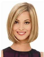 Fashion Short Straight Natural Blonde Mix color Synthetic Hair wig for women 10pcs/lot free shipping mix order