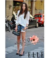 Spot wholesale manufacturers selling chiffon shirt white chiffon shirt pocket women chiffon blouse Free shipping