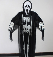 Halloween Costume for Women and Men Grim Reaper Costume Kits Skeleton Clothing and Scary Mask Plus Size Horror Costumes