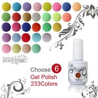 6pcs 233 colors led uv gel polish cheap uv led nail gel top coat uv led nail gel the best uv led nail gel