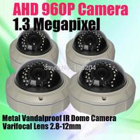 Security Vandalproof Waterproof Metal Dome Camera Varifocal Lens HD-AHD 960P 1.3 MP Indoor / Outoodr Security Camera