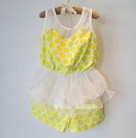 Top On Top  retail new 2014 clothing set(meshwork sleeveless t-shirt+yellow short) Popular kids clothes sets LFR09260056M