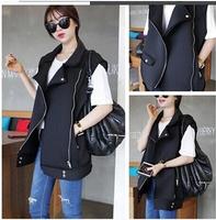 Autumn vest women korea style fashion neoprene punk vest jacket ladies sleeveless black vest womens waistcoat Nora10586