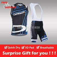 Free shipping/2014 ORBEA cycling sleeveless jersey and bib shorts/Ciclismo jersey/cycling vest/cycling gilet/bike clothing