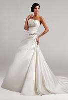 2015  Strapless Beading Ruching  A-Line  Satin Sleeveless Court  Train Gorgeous Luxury Unique Brilliant Bridal Wedding Dress