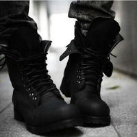 New Two Colors Retro Combat boots Winter England-style fashionable Riding boots Men's short Black shoes