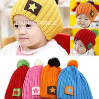2014 Children's hats wholesale Korean star labeling wool cap baby winter hat 4 colors optional original packaging M784