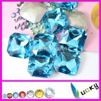 36pcs 23mm square shape crystal aquamarine color sharp back rhinestones for decorations Freeshipping