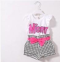 Top On Top  retail  new 2014 girls missfit letters t-shirt + plaid shorts clothing set children  clothes sets LFR09260057M
