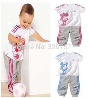 Retail new  children's set girls and boys set 100% cotton short sleeve t-shirt+pants sport suit Minnie set clothes free shipping