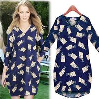 new hot sale 2014 fashion casual women summer autumn dress cartoon deep V-neck long sleeve all match loose vestidos fw-313
