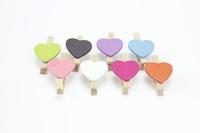 F10073 50pcs Colors Mix Mini Wooden Clip Photo Paper Wood Pegs Kids Crafts Party Favor + Free Ship