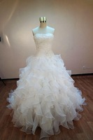 Hot Selling New List Custom Made Real Picture Sweetheart Lace Beading Ball Gown Organza Wedding Dresses Custom Made