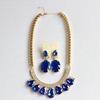 New Fashion Women Full Rhinestone JC large Sapphire Crystals Bib Necklace Earrings Jewelry Set