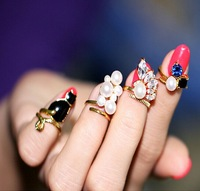 (Mini Mix Order > $10)New Tide Girl Charms Nightclub Punk Gold Plated Metal Crystal Cat Created Pearls Nail Rings Knuckle Ring