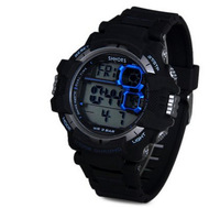 New Arrival Round Dial Digital LED Watch 30 Meters Waterproof Sport Watch Rubber Band Arabic Numbers Watch