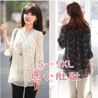 free shipping ! female three quarter sleeve chiffon blouse girl's print sun protection tees women's oversize spring shirt 5XL