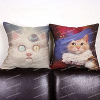 Cute Cartoon Earl Cat & Hat Cat Animal Print Retro Cotton Linen Throw Cushion Cover Home Decor Sofa Lumbar Pillow Case 45x45 cm