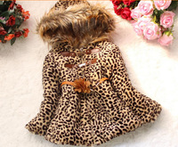 Retail New 2014 children Jackets&Coats kids Leopard Fur Outerwear Girls Winter clothes Hooded With Belt Padded Coat CC1538