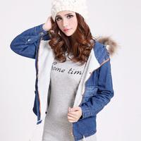 Autumn Winter Casual Womens Ladies Fleece Thick Warm Denim Short Coat And Jacket , Female Vintage Fur Hooded Jean Jackets Coats