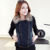 Autumn Winter Womens Ladies Fashion PU Leather Patchwork Real Raccoon Fur Short Denim Coat And Jacket , Female Slim Fit Coats