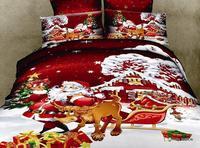 Santa Claus cartoon bedding set 100% cotton Christmas gift bedding elk moose Quilt comforter cover duvet sets sheet  bedclothes