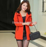 XL-6XLsize women casual hoodies 2014 Autumn new extra plus size long outwear coat warm winter jacket cardigans free shipping